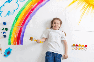 Kids paint a mural for creative activity
