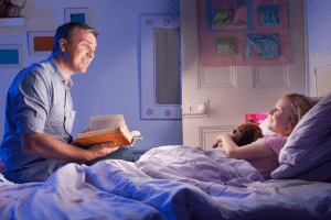 Bedtime routine that includes a bedtime story can help your child fall asleep faster.